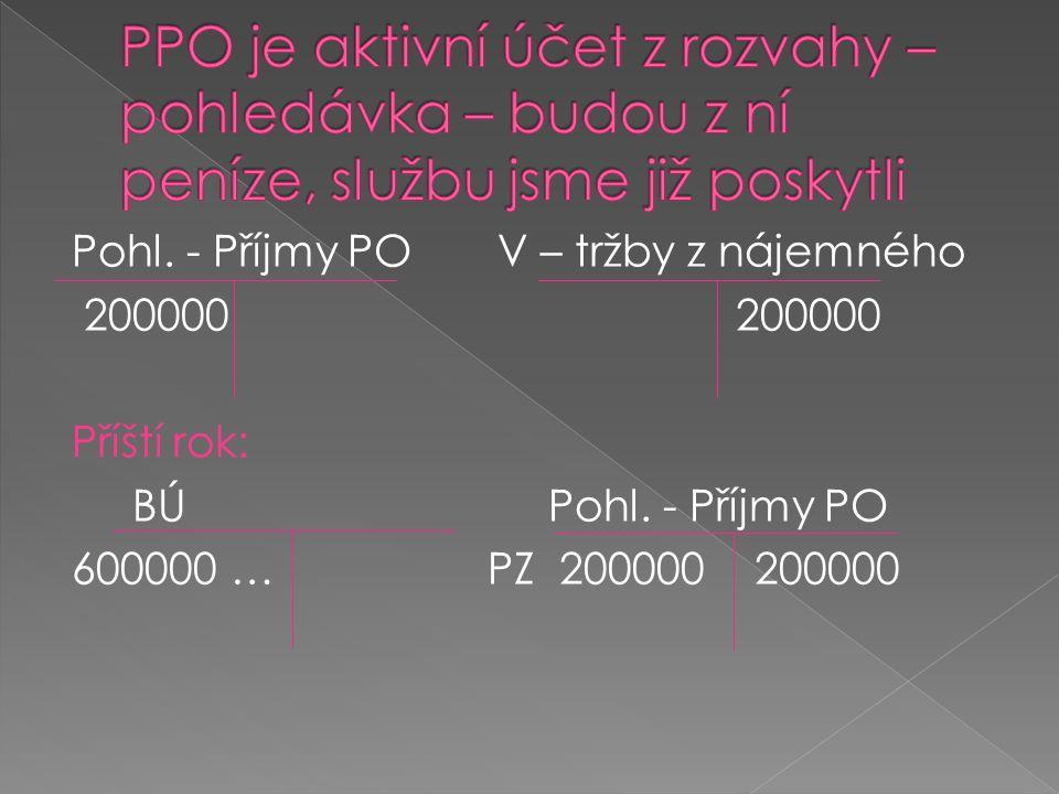 PPO je aktivní účet z rozvahy – pohledávka – budou z ní peníze, službu jsme již poskytli