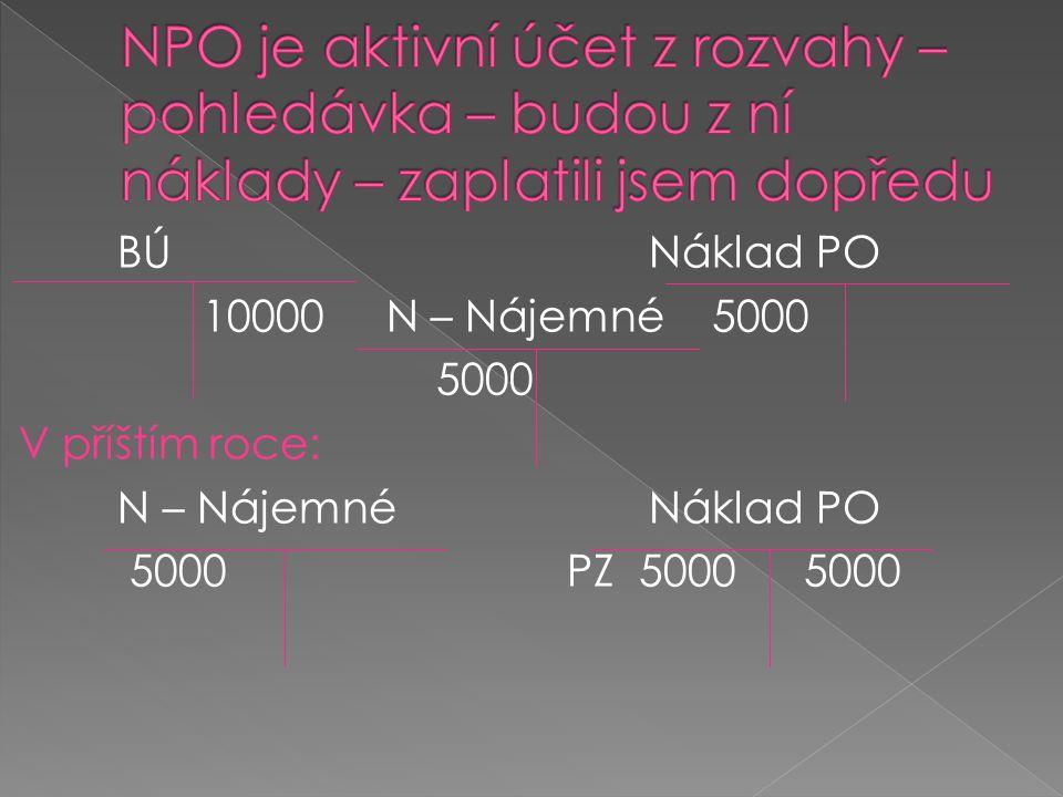 NPO je aktivní účet z rozvahy – pohledávka – budou z ní náklady – zaplatili jsem dopředu