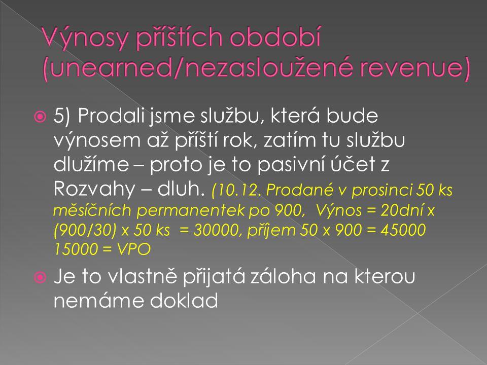 Výnosy příštích období (unearned/nezasloužené revenue)