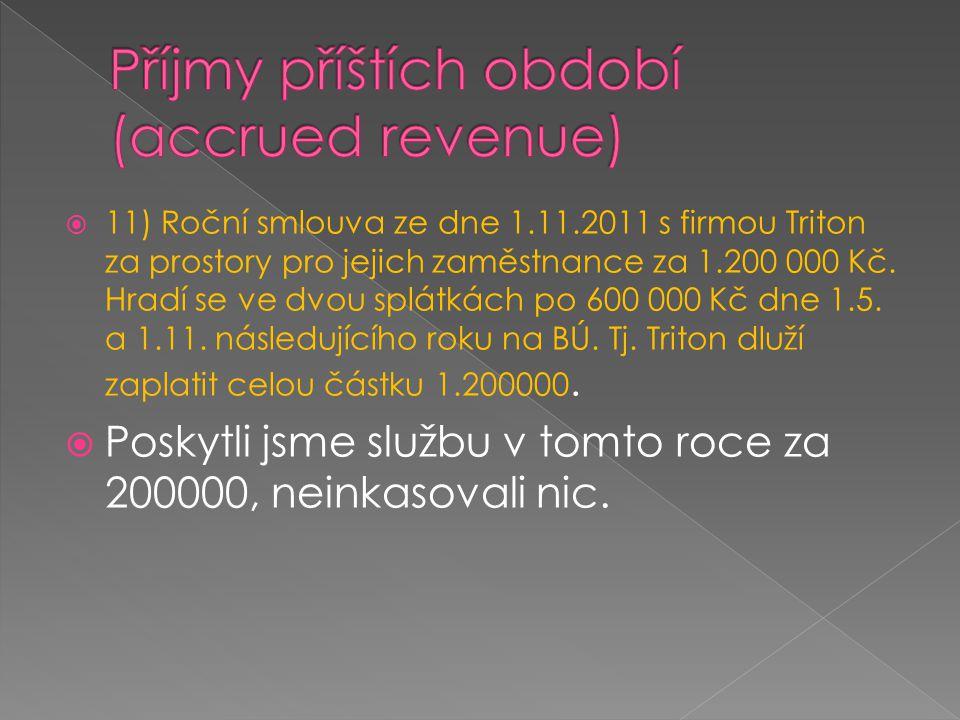 Příjmy příštích období (accrued revenue)