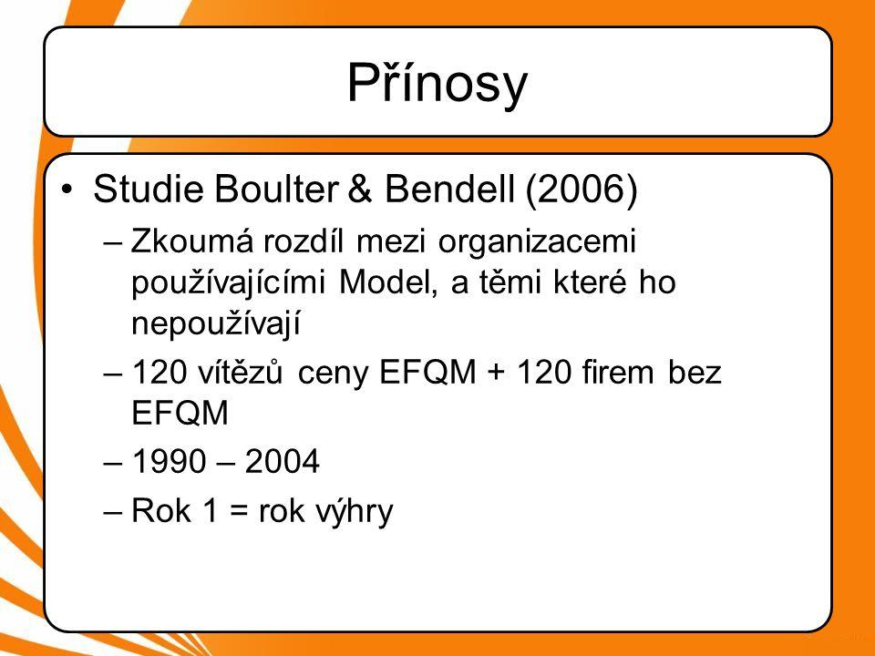 Přínosy Studie Boulter & Bendell (2006)