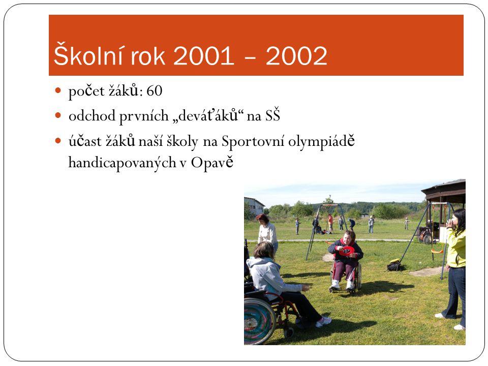 """Školní rok 2001 – 2002 počet žáků: 60 odchod prvních """"deváťáků na SŠ"""