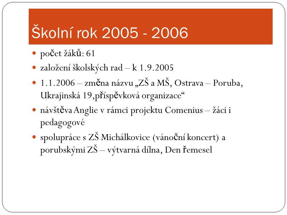 Školní rok 2005 - 2006 počet žáků: 61