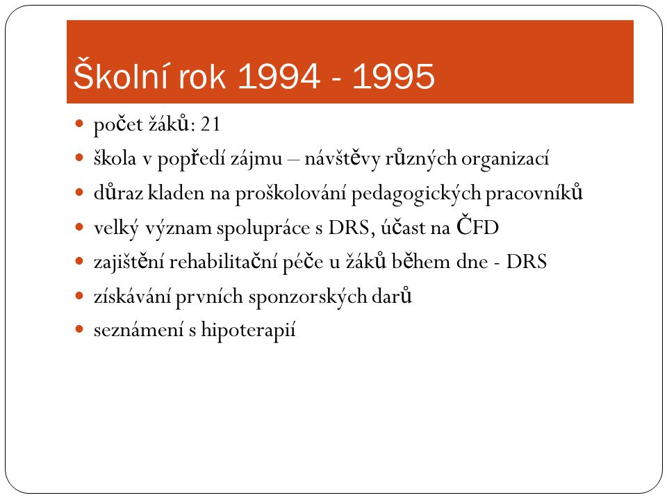 Školní rok 1994 - 1995 počet žáků: 21