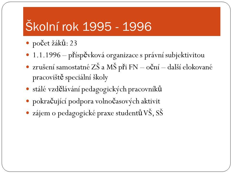 Školní rok 1995 - 1996 počet žáků: 23