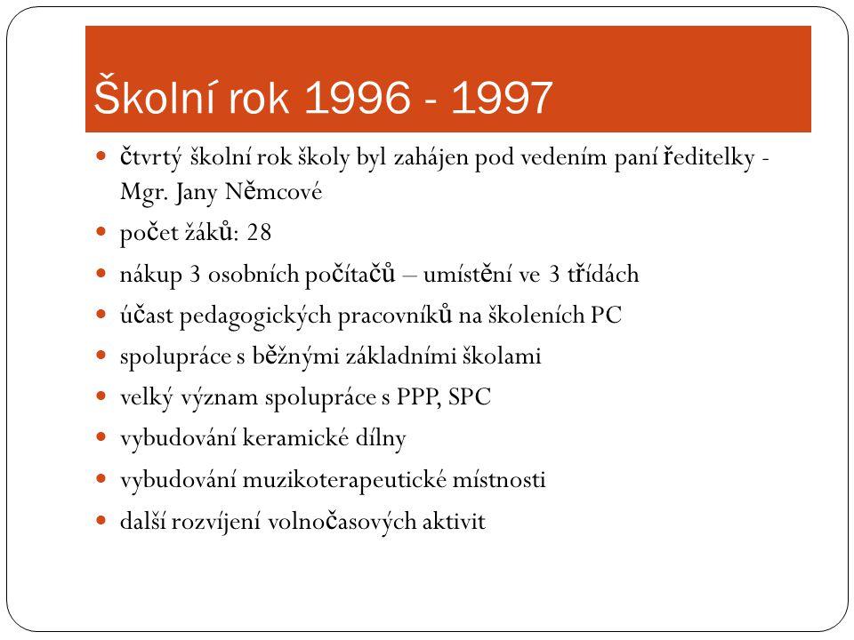 Školní rok 1996 - 1997 čtvrtý školní rok školy byl zahájen pod vedením paní ředitelky - Mgr. Jany Němcové.