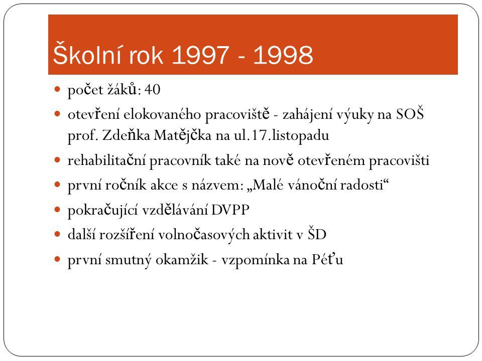 Školní rok 1997 - 1998 počet žáků: 40