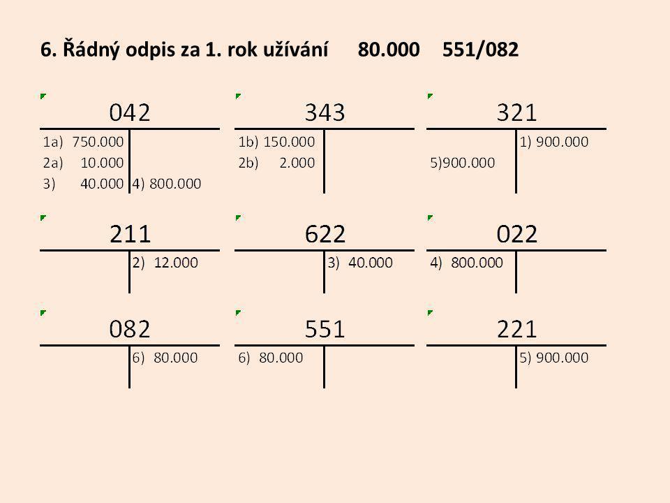 6. Řádný odpis za 1. rok užívání 80.000 551/082