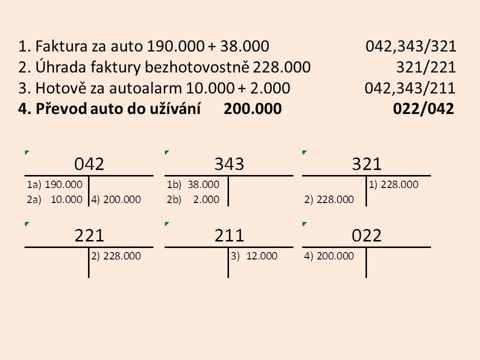 1. Faktura za auto 190.000 + 38.000 042,343/321 2.