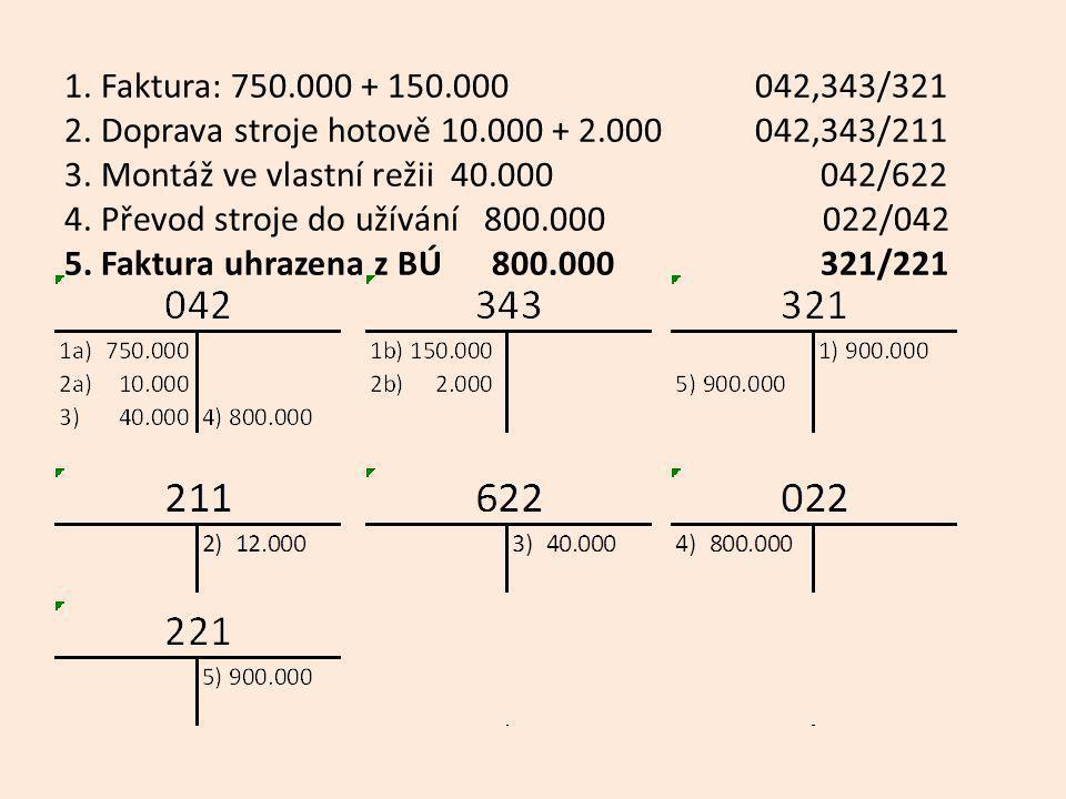 1. Faktura: 750.000 + 150.000 042,343/321 2.