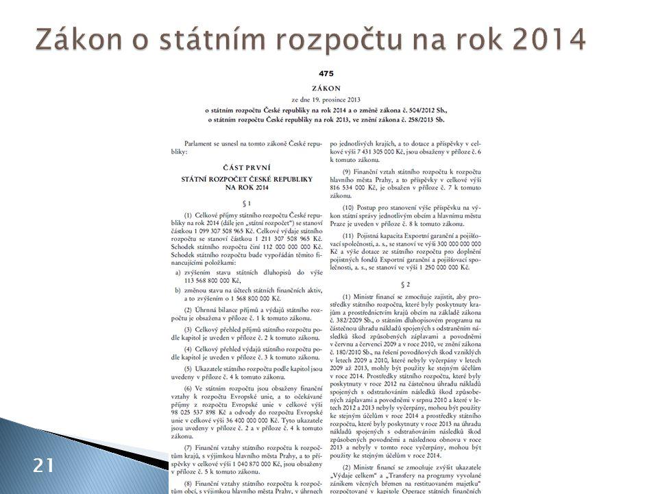 Zákon o státním rozpočtu na rok 2014