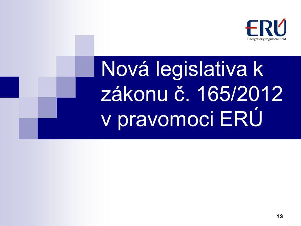 Nová legislativa k zákonu č. 165/2012 v pravomoci ERÚ