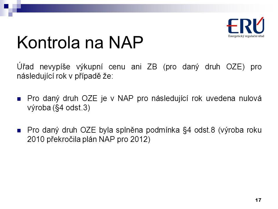 Kontrola na NAP Úřad nevypíše výkupní cenu ani ZB (pro daný druh OZE) pro následující rok v případě že: