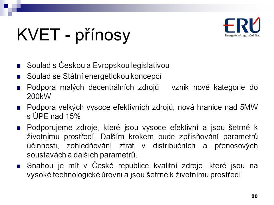 KVET - přínosy Soulad s Českou a Evropskou legislativou