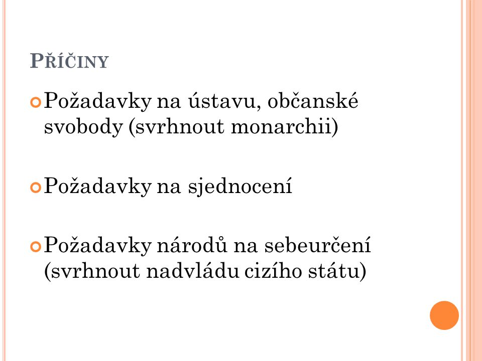 Požadavky na ústavu, občanské svobody (svrhnout monarchii)