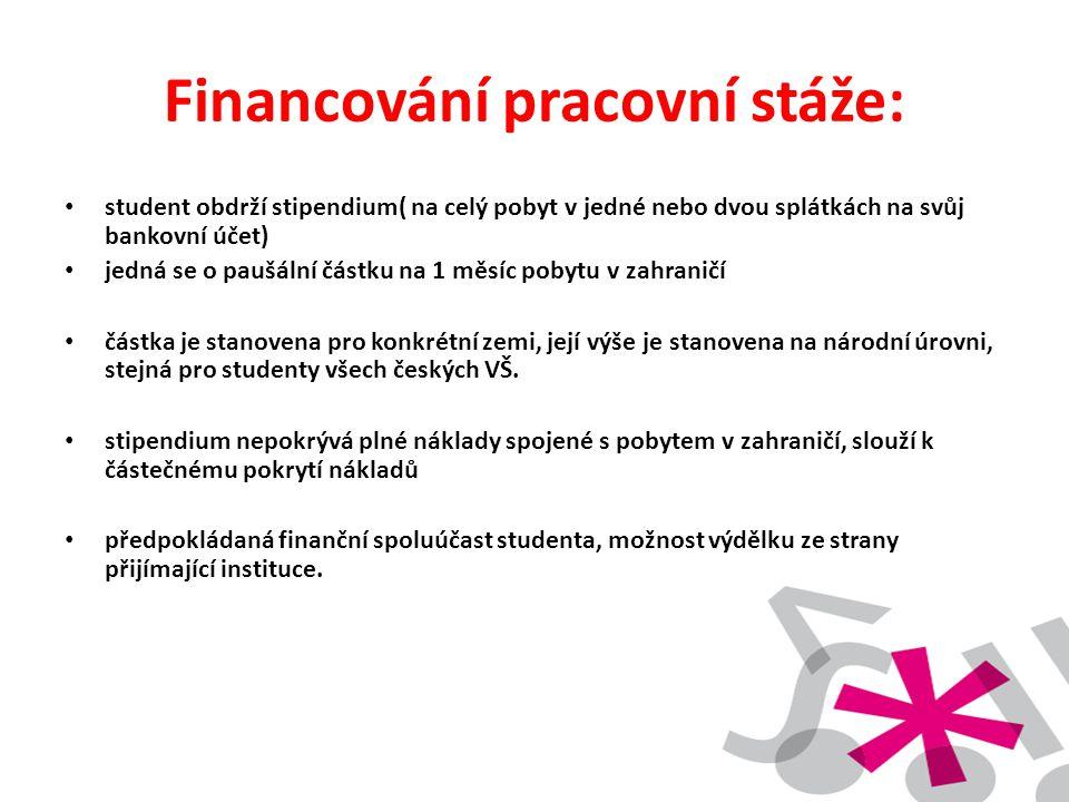 Financování pracovní stáže: