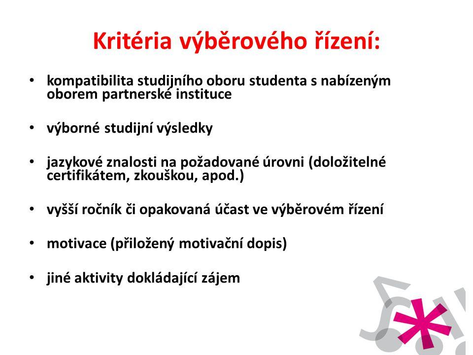 Kritéria výběrového řízení: