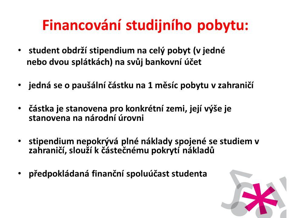 Financování studijního pobytu: