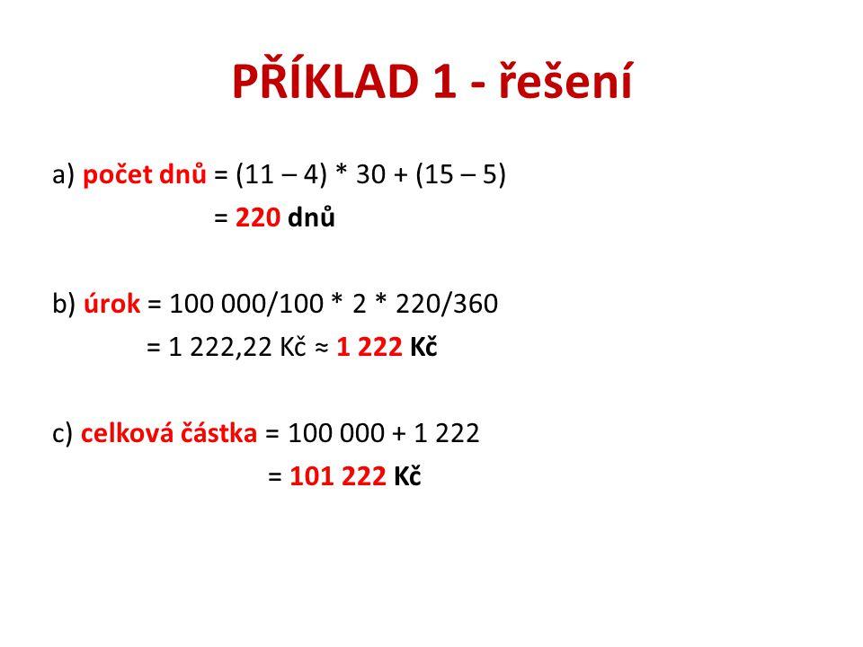 PŘÍKLAD 1 - řešení a) počet dnů = (11 – 4) * 30 + (15 – 5) = 220 dnů