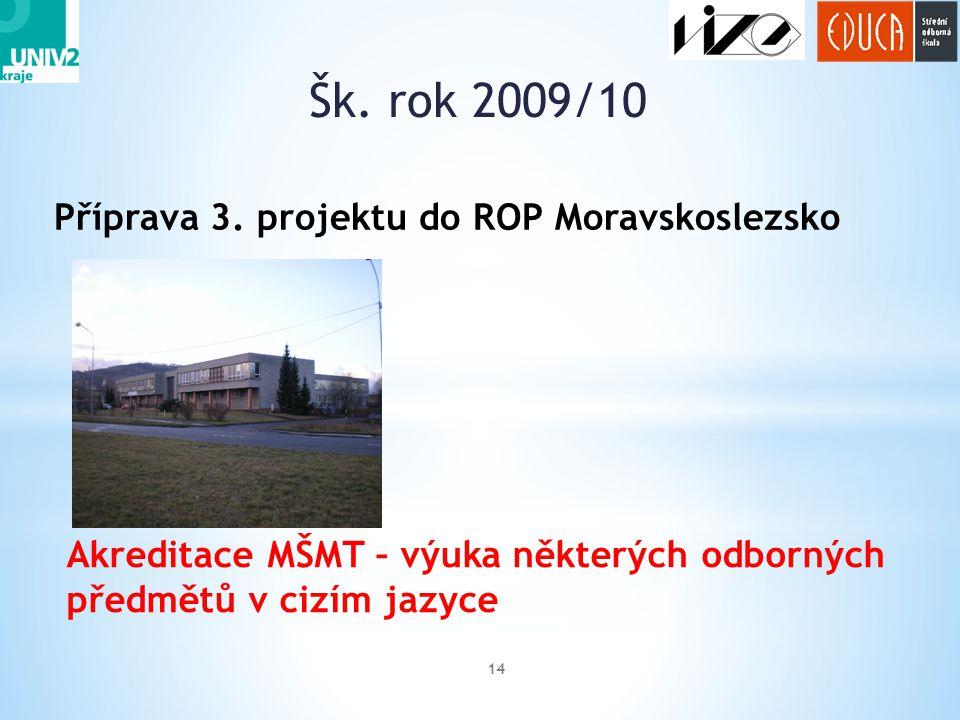 Šk. rok 2009/10 Příprava 3. projektu do ROP Moravskoslezsko