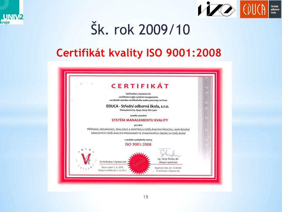 Certifikát kvality ISO 9001:2008