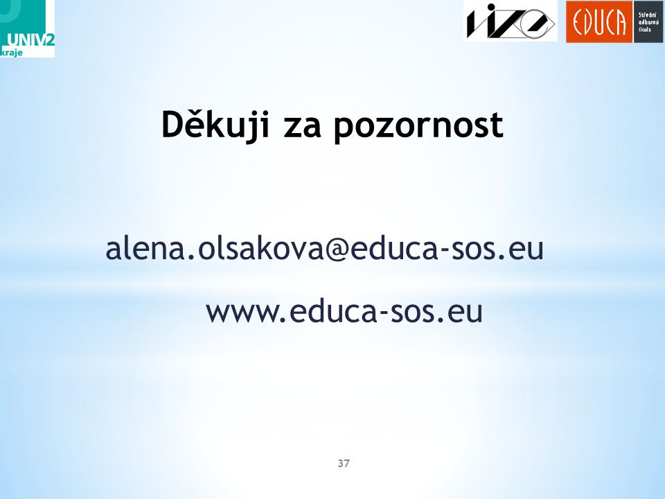 Děkuji za pozornost alena.olsakova@educa-sos.eu www.educa-sos.eu
