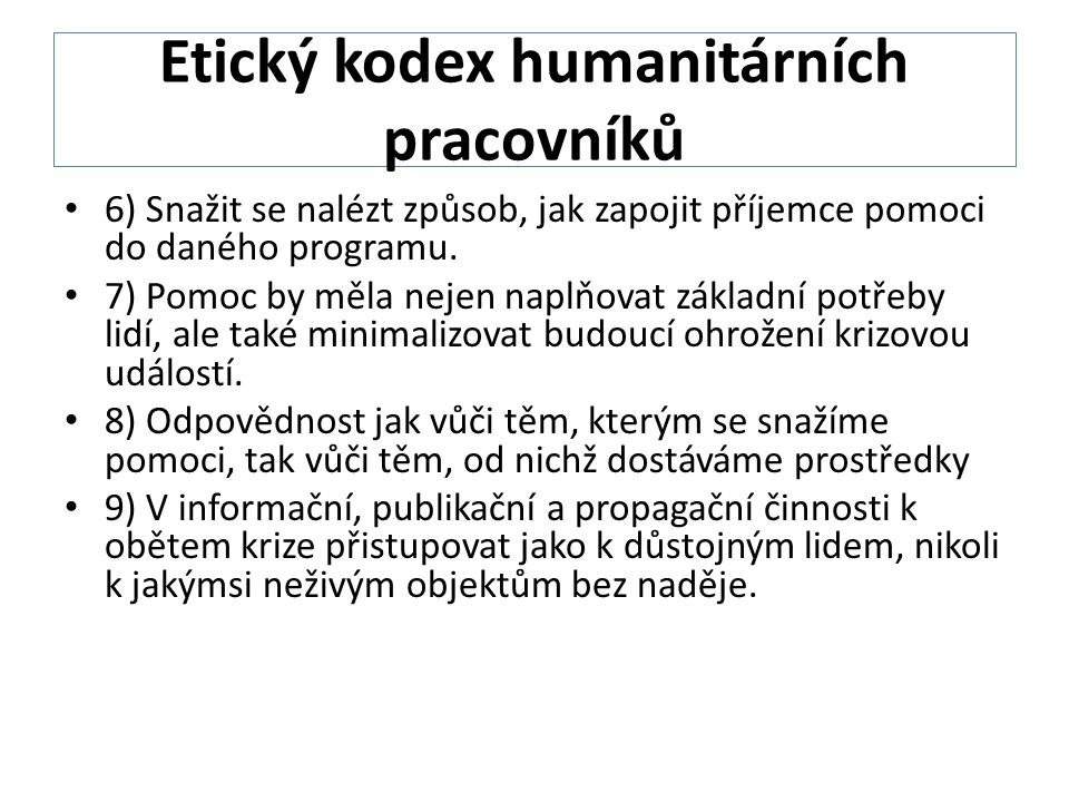 Etický kodex humanitárních pracovníků