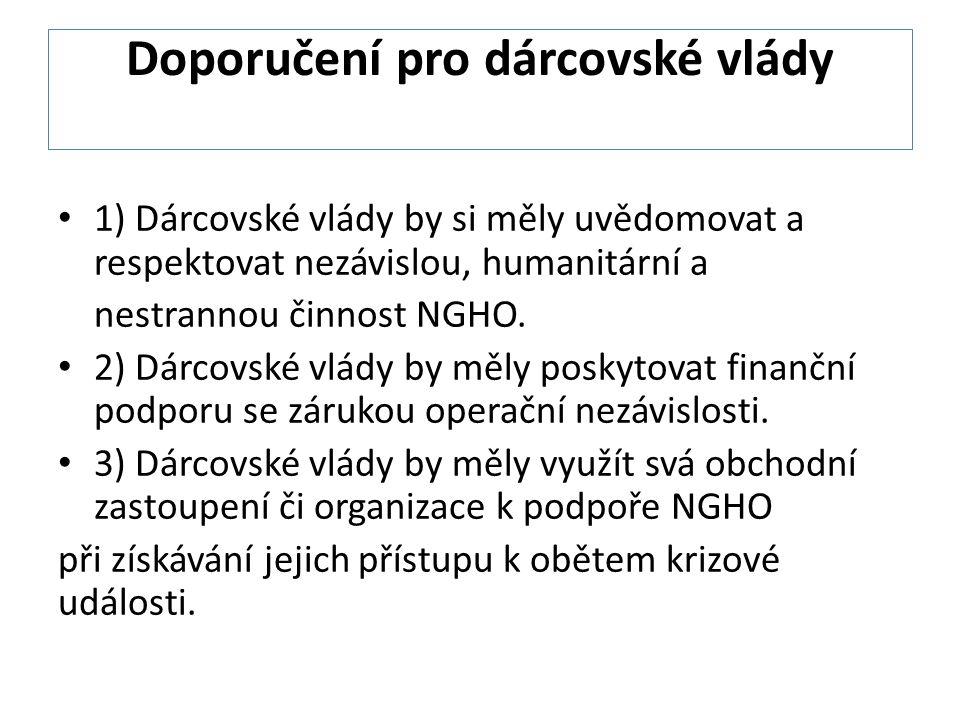 Doporučení pro dárcovské vlády