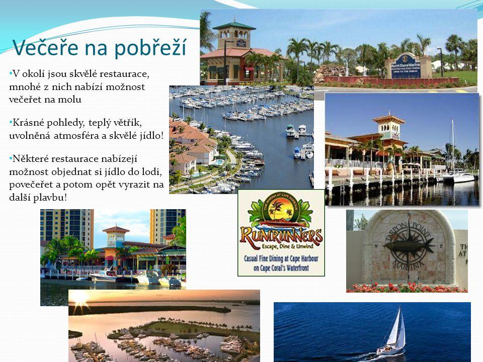 Večeře na pobřeží V okolí jsou skvělé restaurace, mnohé z nich nabízí možnost večeřet na molu.