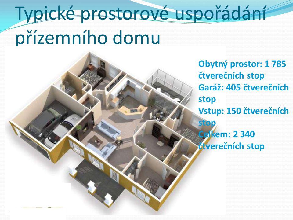 Typické prostorové uspořádání přízemního domu