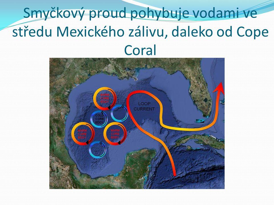 Smyčkový proud pohybuje vodami ve středu Mexického zálivu, daleko od Cope Coral