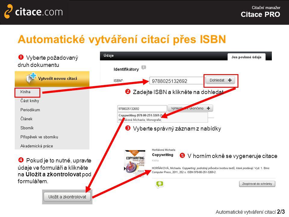Automatické vytváření citací přes ISBN