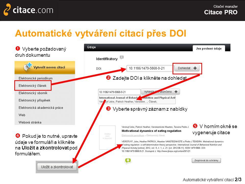 Automatické vytváření citací přes DOI