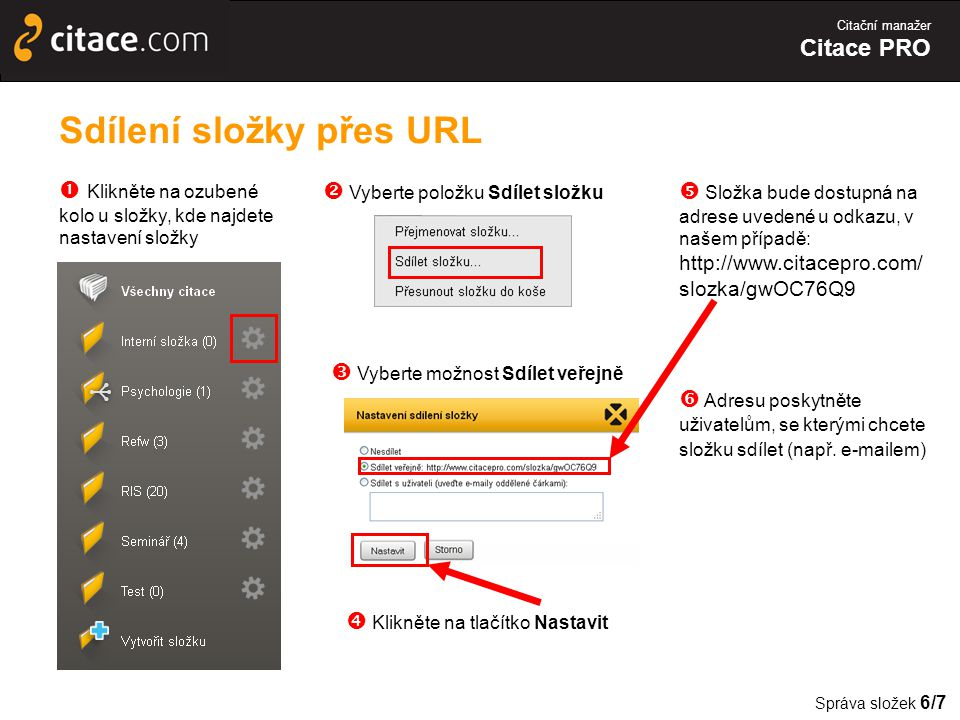Sdílení složky přes URL