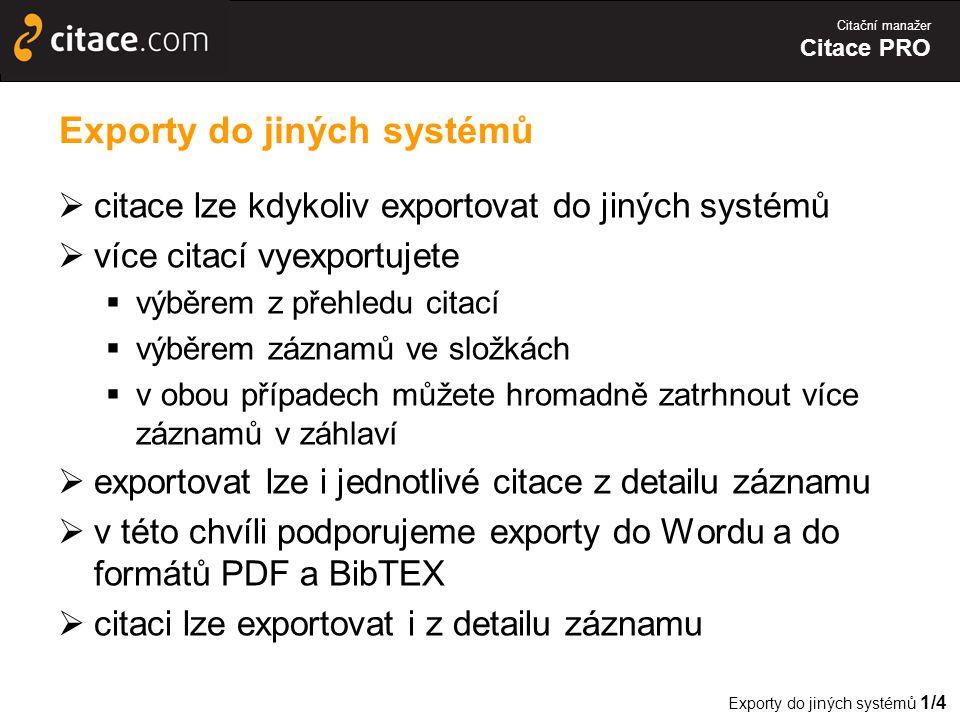 Exporty do jiných systémů