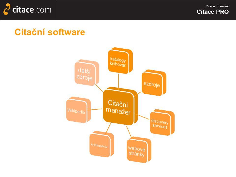 Citační software Citační manažer další zdroje ezdroje webové stránky