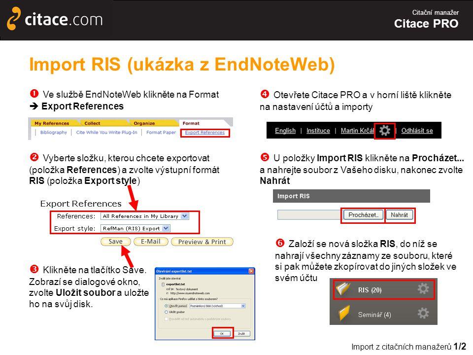 Import RIS (ukázka z EndNoteWeb)