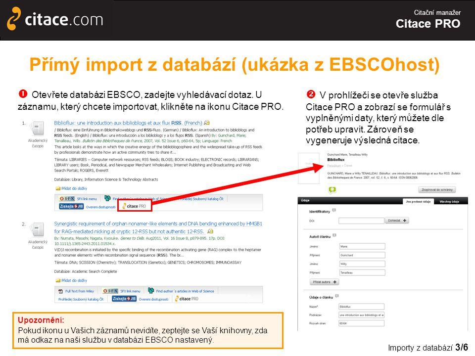Přímý import z databází (ukázka z EBSCOhost)