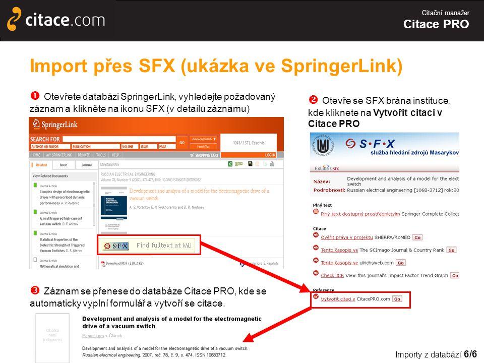 Import přes SFX (ukázka ve SpringerLink)