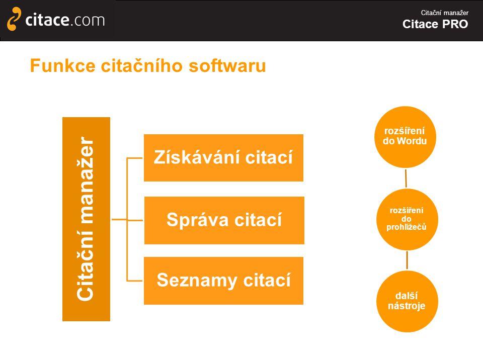 Funkce citačního softwaru