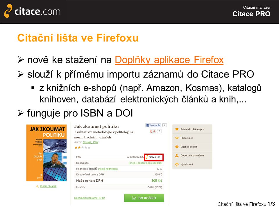 Citační lišta ve Firefoxu
