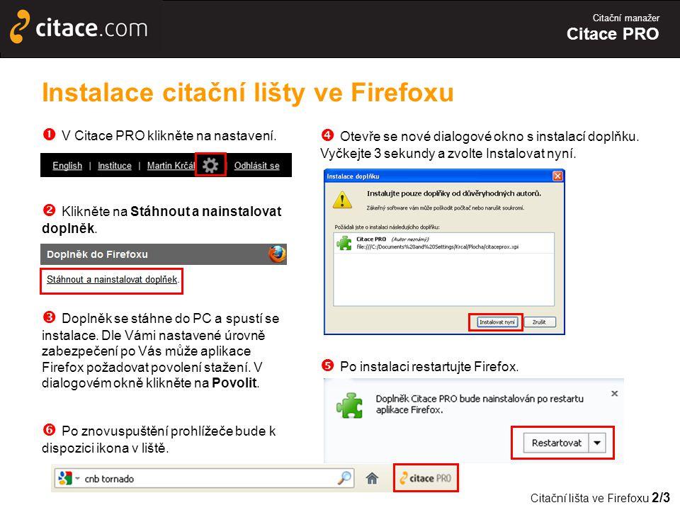 Instalace citační lišty ve Firefoxu