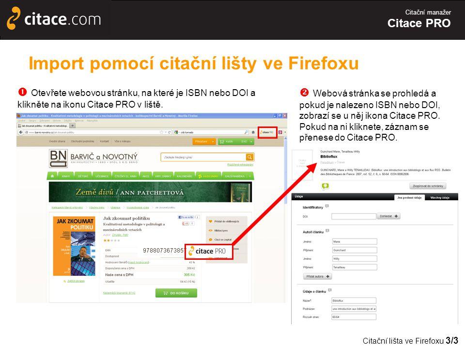 Import pomocí citační lišty ve Firefoxu
