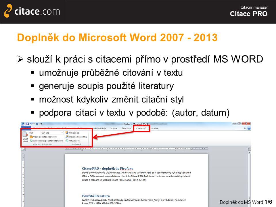 Doplněk do Microsoft Word 2007 - 2013