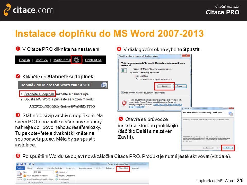 Instalace doplňku do MS Word 2007-2013
