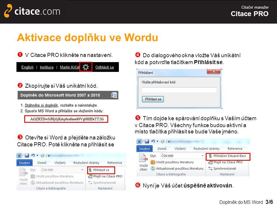 Aktivace doplňku ve Wordu