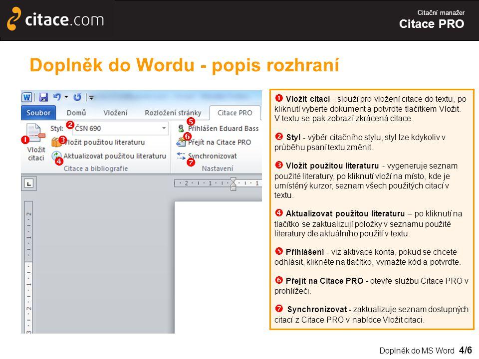 Doplněk do Wordu - popis rozhraní