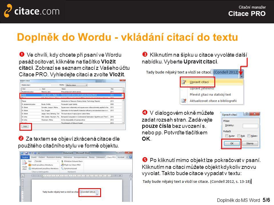 Doplněk do Wordu - vkládání citací do textu