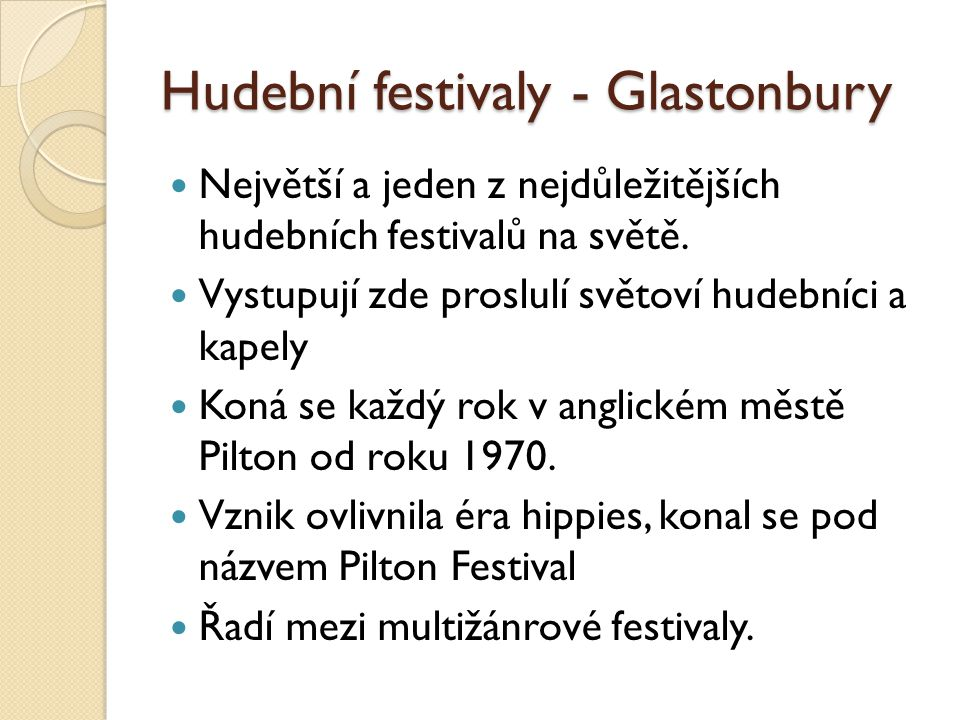 Hudební festivaly - Glastonbury