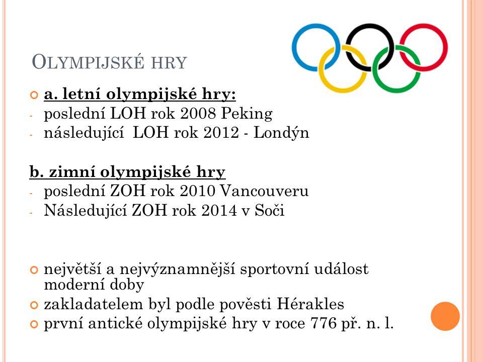 Olympijské hry a. letní olympijské hry: poslední LOH rok 2008 Peking